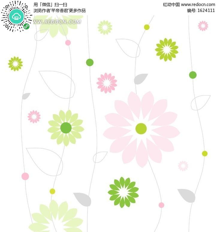 小清新花朵背景素材_小清新花纹边框文艺花朵背景素材设计图__背