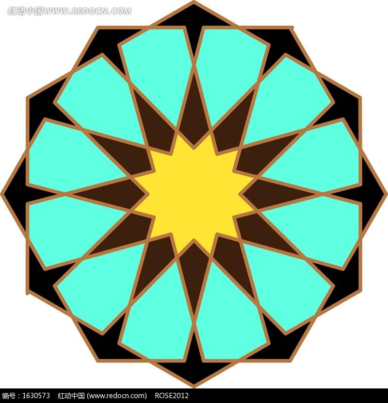 四色不规则 几何图形构成 的对称 图案 图片 花纹