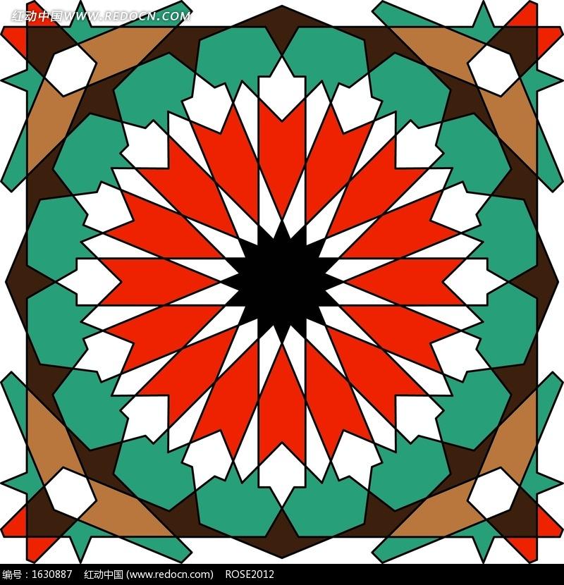五彩几何图形组成的对称图案设计图片