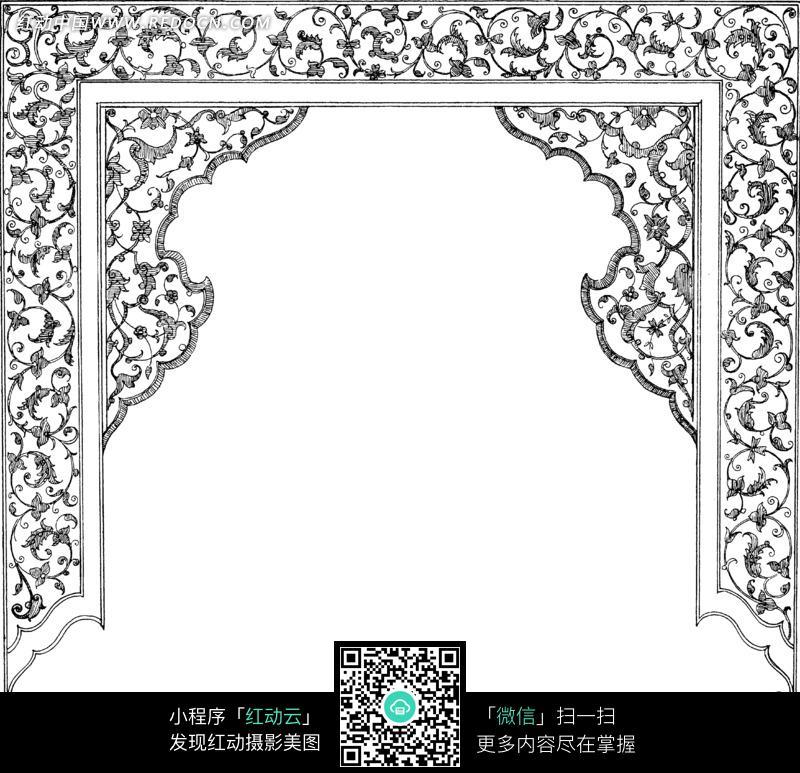 2229 花纹花边 背景花边 图片素材 -古典花纹帷幕状黑白边框