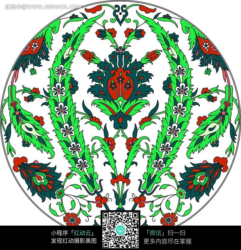 左右对称的圆形花纹图案图片 1632625 背景花边