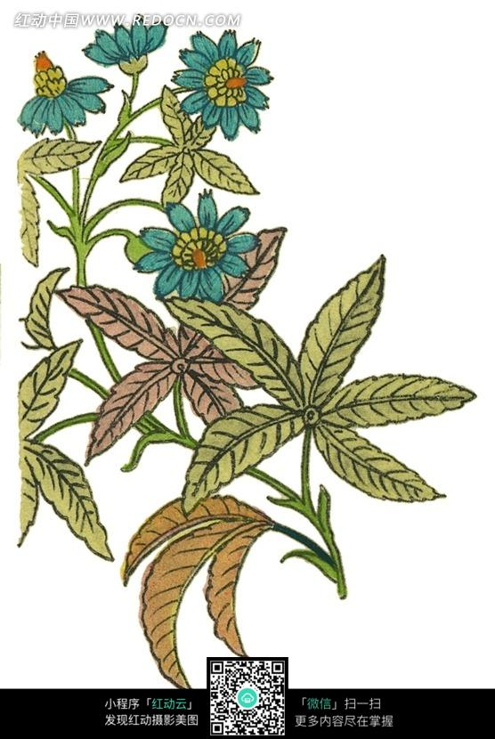 树叶画边-绘绿色花瓣植物叶子插画图片 1644447 背景花边