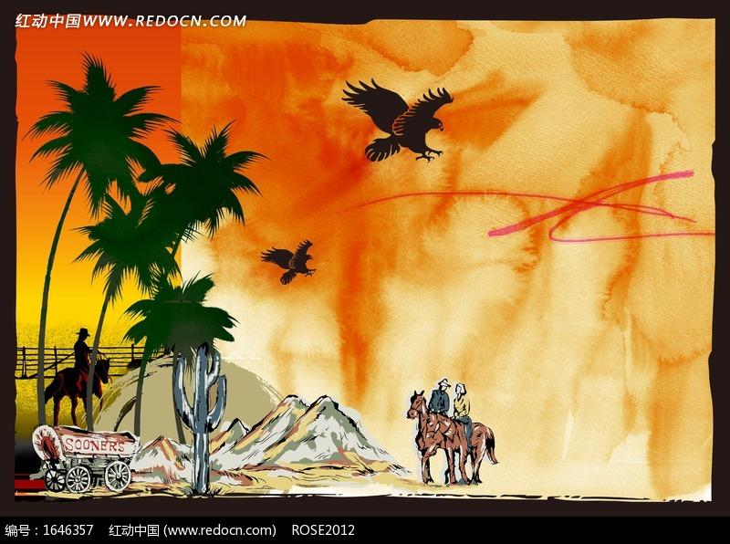 骑马的人物和风景插画设计图片