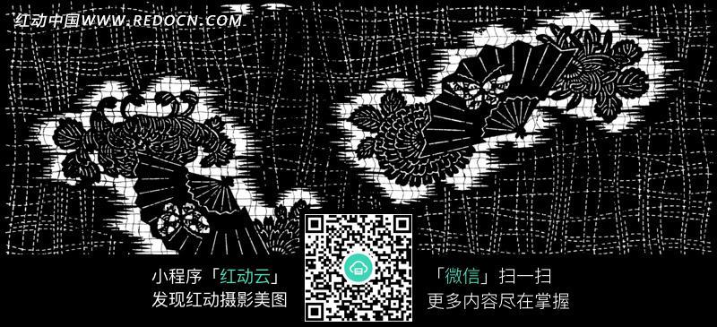 布纹上的花卉和扇子中蝴蝶的图案图片 编号 1647595 底纹背景 背景花
