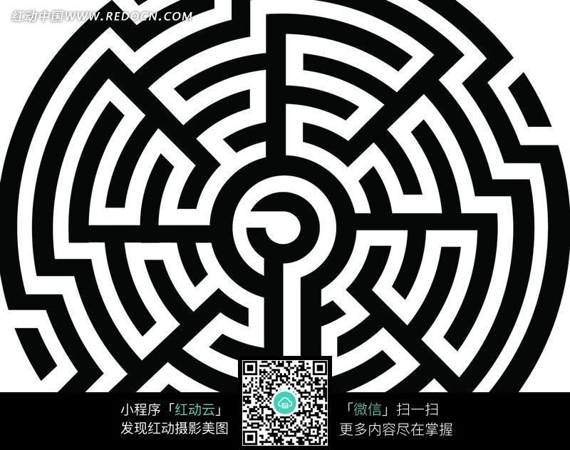 黑白色 圆形迷宫 图案图片 花纹 花边 线条 背景图高清图片