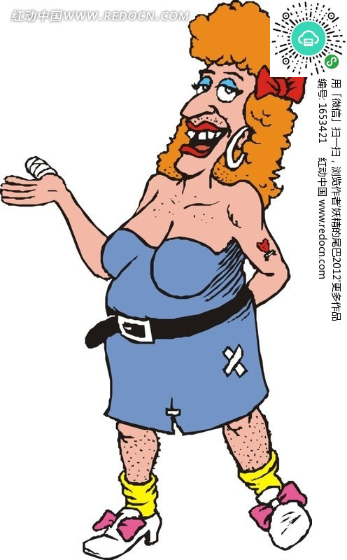 手绘橙色头发的肥胖外国女人设计图片