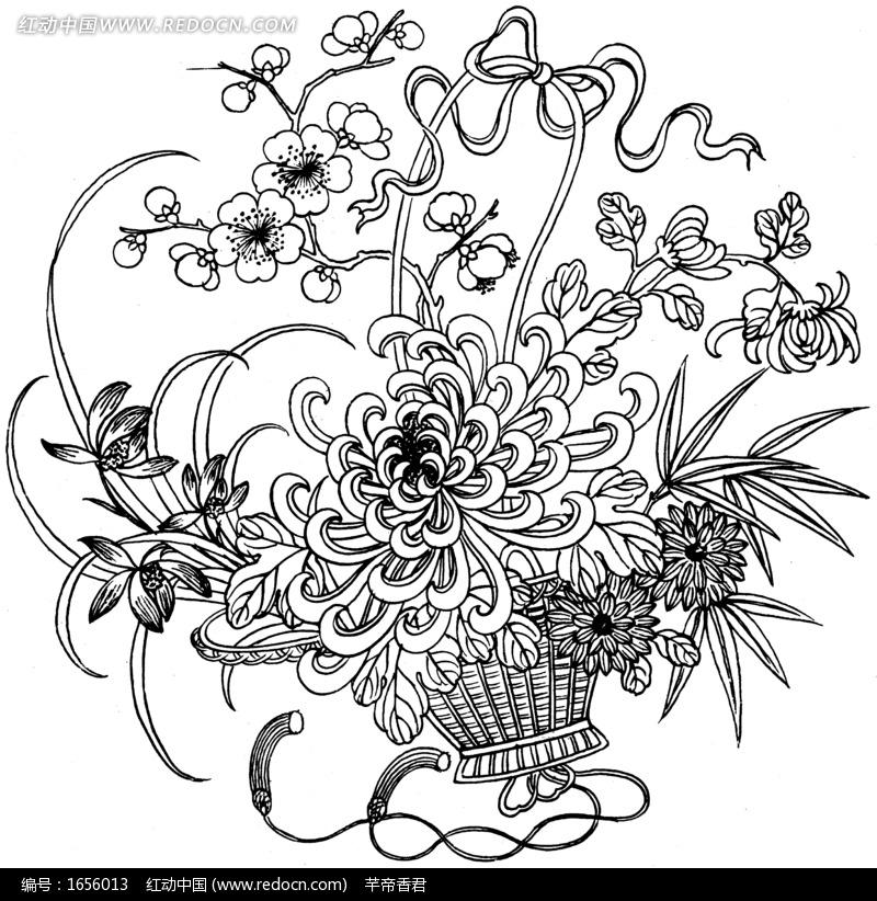 素描菊花花图片大全,小报素描菊花图,素描菊花静物图片,素描菊花