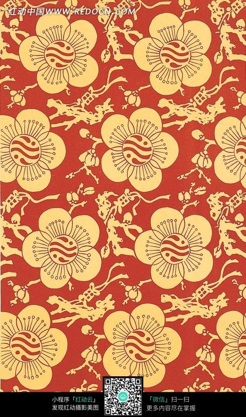 手绘枝茎梅花图案图片 花纹 花边 线条 背景图库下载 -简单花边图片