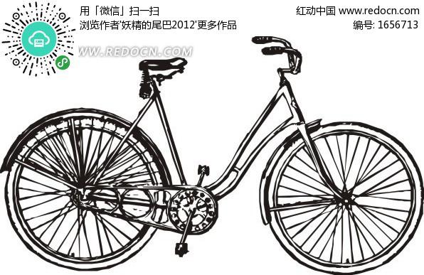 剖面黑白摩托车侧面线条手绘矢量图矢量素材cdr源
