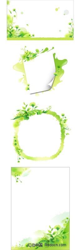 绿色小清新植物装饰的信纸设计图片图片