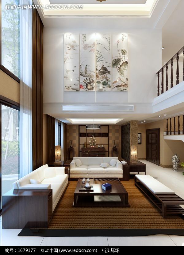 简约中式风格别墅客厅设计3dmax模型(编号:1679177)图片