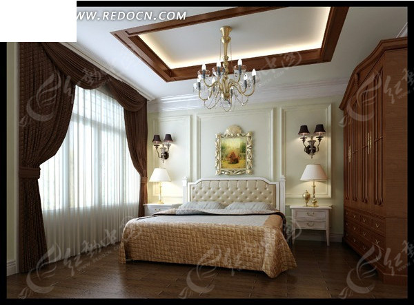 带衣柜欧式风格卧室3dmax模型设计图片图片