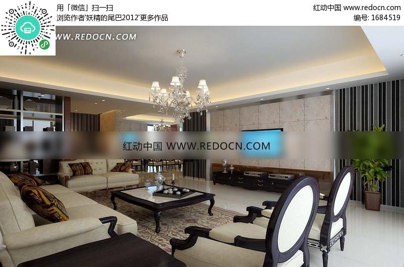 木布结合家具的欧式客厅及餐厅3dmax模型设计图片图片