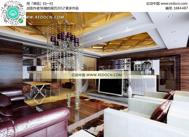 金色浮雕吊顶的欧式奢华客厅及餐厅3dmax模型图片