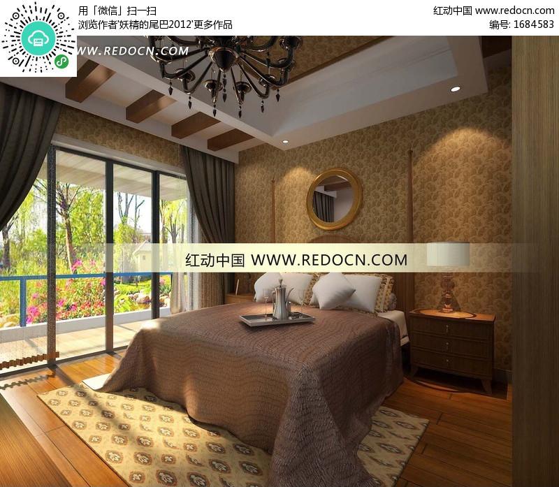 方木吊顶的欧式卧室3dmax模型(编号:1684583)图片