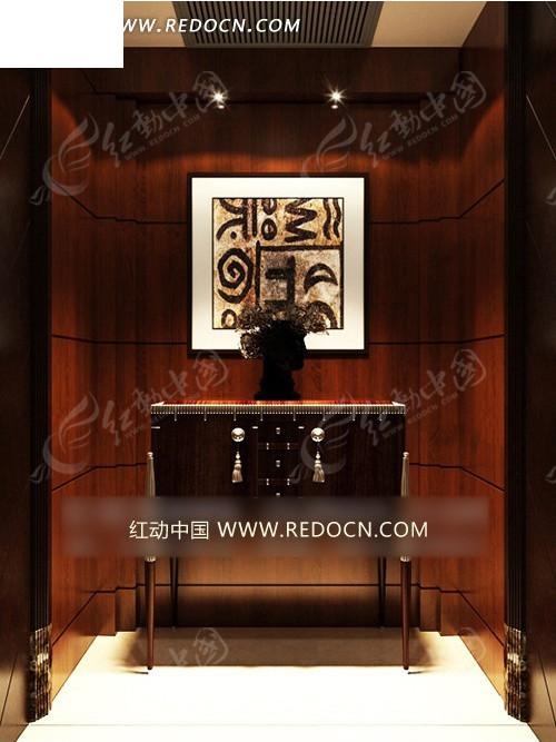 木墙面欧式细脚柜玄关3dmax模型(编号:1686961)图片