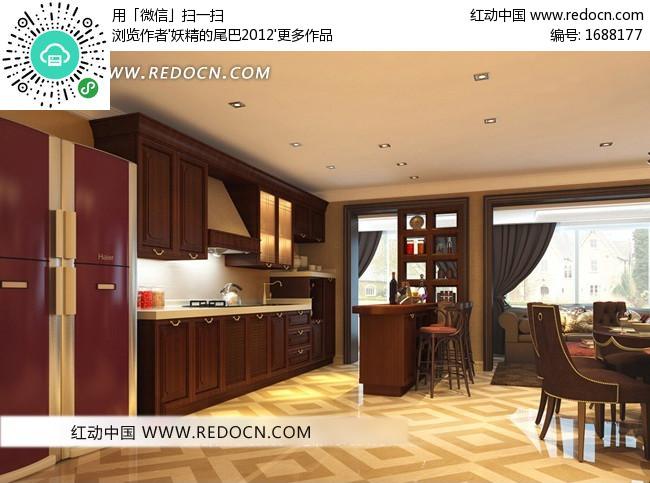 欧式古典整体橱柜开放式厨房及餐厅3dmax模型设计图片