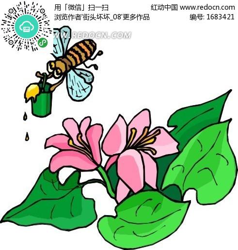 蜜蜂采蜜简笔画图片