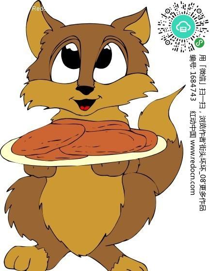 卡通画 端着 食物 的猫咪 陆地动物矢量图下载 编