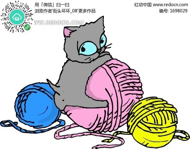 手绘趴在线团上的小猫咪