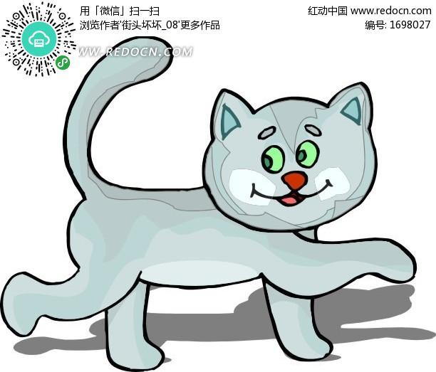 手绘漫步的小猫咪设计图片-小猫卡通图 可爱卡通图小猫 小猫跑卡通图