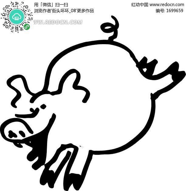 手绘线描小猪