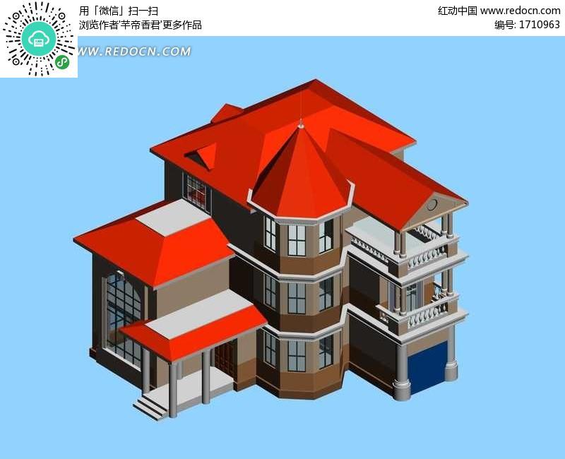 瓦 材质 英 红 瓦 设计 图 3d 设计 欧式 红 瓦 别墅 ...