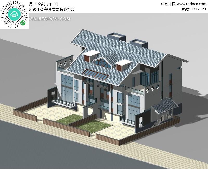 别墅3D建筑模型设计图片