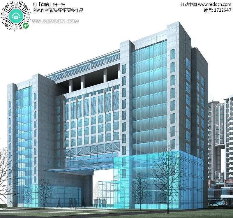 图书馆3D建筑模型设计设计图片