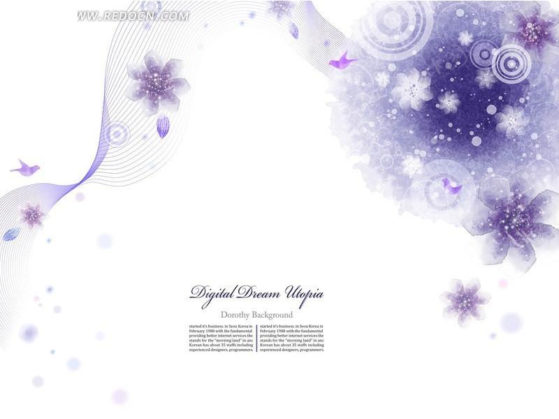 紫色小清新背景素材_紫色藤蔓花纹矢量下载紫色藤蔓春季背景花纹