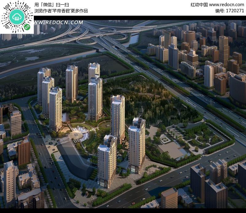 城市规划建设效果图psd素材-ps建筑效果图|