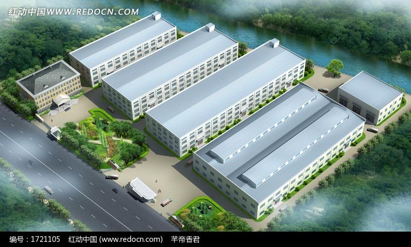 现代工厂建筑群鸟瞰效果图设计图片