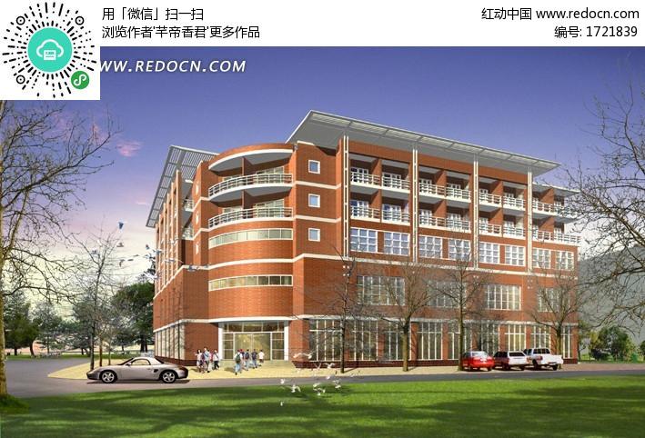 欧式学校教学楼日景效果图设计设计图片高清图片