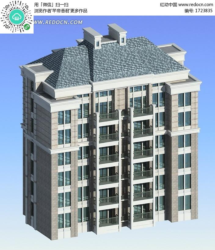 城市高档住宅小区房屋3d模型-3D模型下载 3D