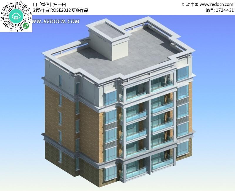 方式平顶小区住宅3D模型图(编号:1724431)_建