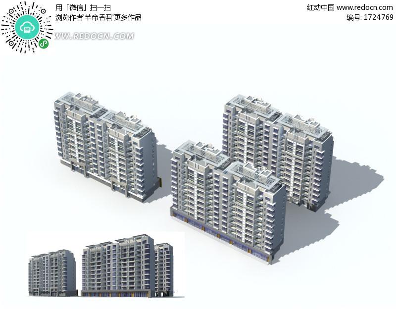 中式 顶檐 高层住宅 楼群3d 效果图 3d模型下载 高清图片