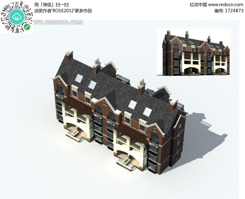 欧式灰咖色立檐顶高层住宅3d效果图设计图片 高清图片