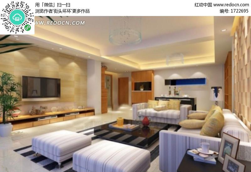 现代客厅室内效果图3d模型 max 高清图片