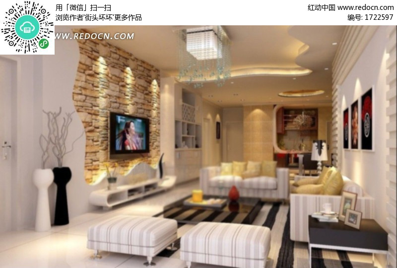 温馨的现代简约客厅效果图3d模型 max 高清图片