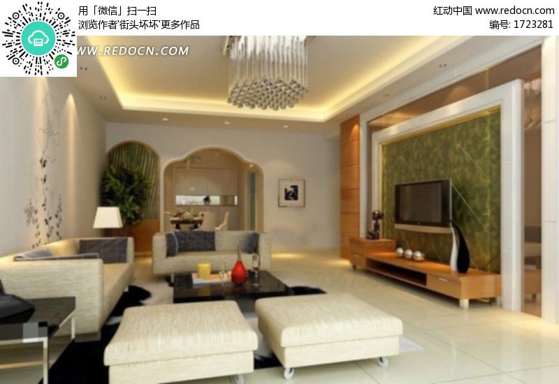 现代客厅设计3d效果图 编号 1723281 建筑模型 3d模型 3d高清图片
