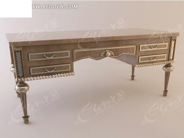 欧美实木家具五屉描金书桌 3D模型下载 3D模