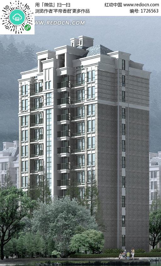 十层塔式住宅楼建筑效果图设计图片图片