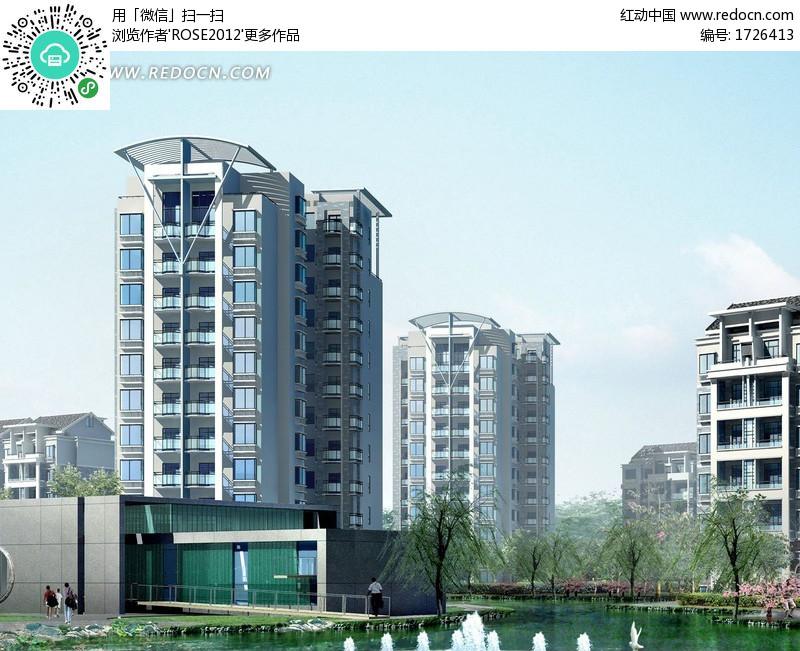 钢架顶塔式多层住宅小区楼效果图(编号:1726413)_建筑图片