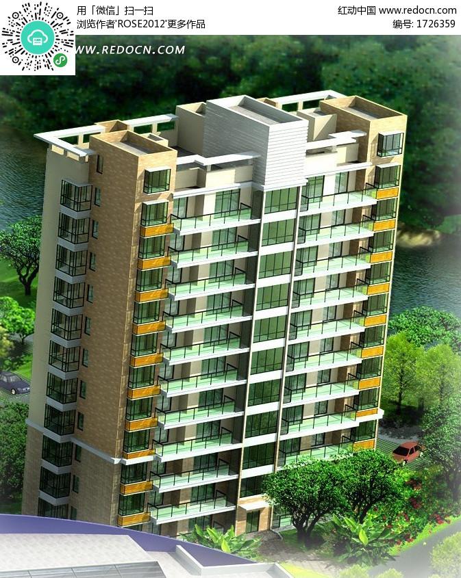 独栋塔式多层住宅楼效果图(编号:1726359)_建筑模型图片