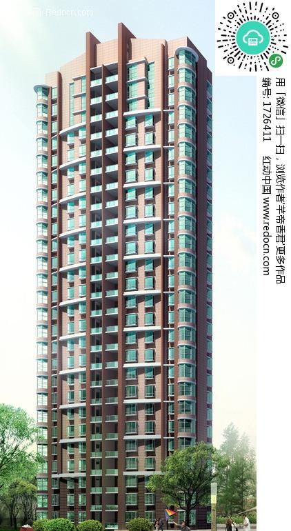 现代板式高层住宅楼外立面效果图 编号 1726411 高清图片