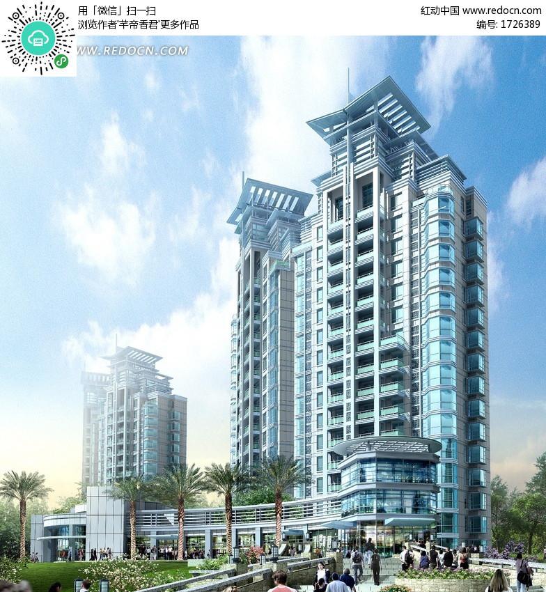 现代造型楼顶高层住宅楼效果图设计图片 高清图片