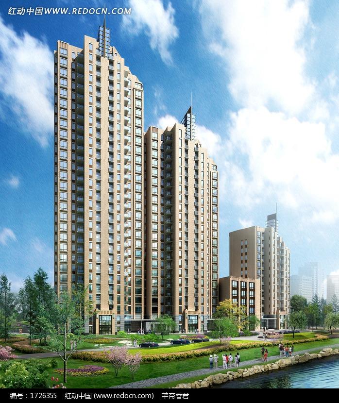 高层板式联排商住群楼临街效果图高清图片