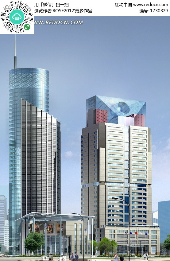 代高层商业办公大楼3D模型
