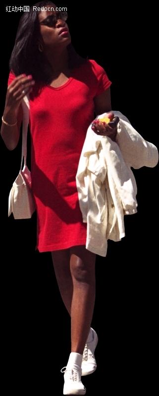 穿红色裙子手搭衣服的黑人美女设计图片