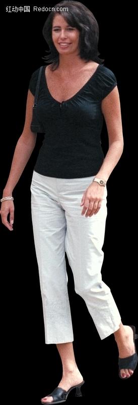 黑色上衣白色裤子的女人设计图片